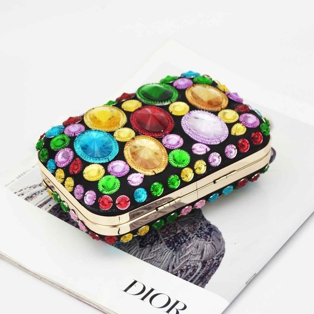 Colorful / Plain Crystal Evening Clutch Bag With Chain