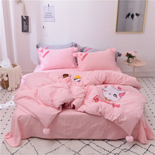 Pink White Gray Lovely Cartoon Kitty Embroidery Girl Bedding Set Duvet Cover Bed sheet Linen Pillowcases Queen Size 4pcs