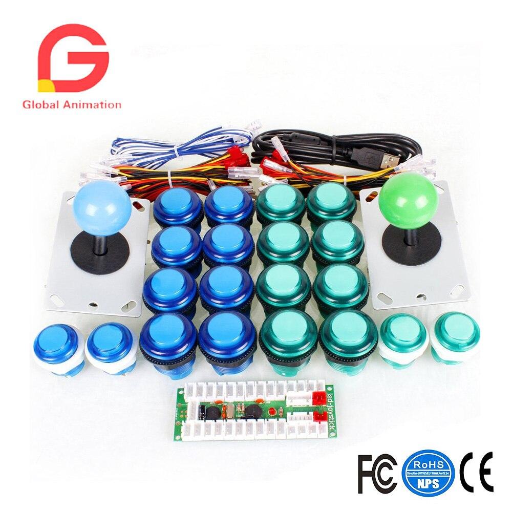 2 Kits d'arcade lecteur USB Contols à PC 2Pin Joystick + 20 LED boutons poussoirs lumineux jeux Mame KOF