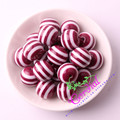 Free Shipping 20mm 100pc/lot Wine Burgundy Color Resin Striped Beads For Jewelry Making CDWB-517103