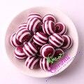 Frete Grátis 20mm 100 pc/lote CDWB-517103 Vinho Borgonha Cor Resina Listradas Beads Para Fazer Jóias