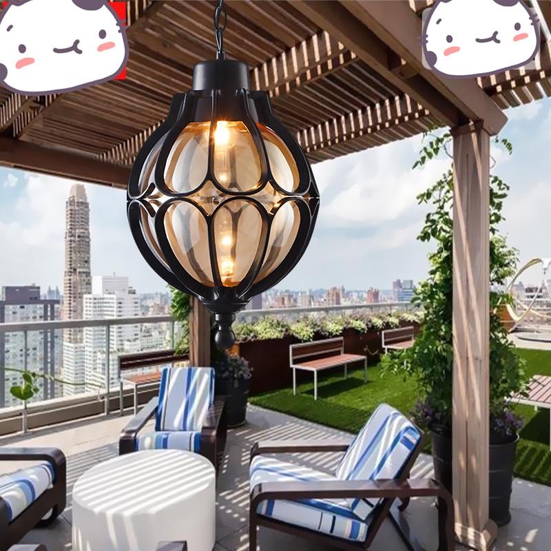 Vintage extérieur balcon verre boule lustres raisin européen étanche en aluminium lustre E27 ampoule
