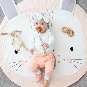 Image 5 - Baby Play Mats Kids Crawling Carpet Rug Round Soft Baby Bedding Blanket Cotton Game Pad Toys For Children Room Nursery Decor