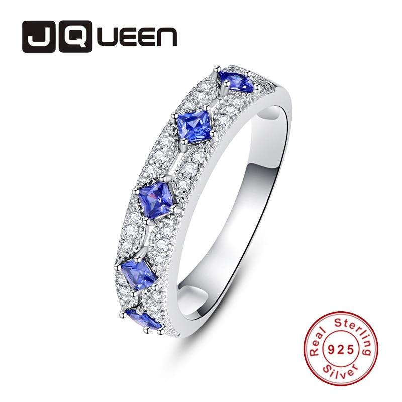 JQUEEN 1mm 28 Rround Zircon 5 3mm*3mm Blue Zircon Princess Curt Cut Ring 925 Jewelry Pave Setting Crystal Jewelry Bijoux Femme