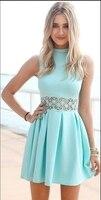 Mint Green Homecoming Dresses Short Junior Satin Graduation Dresses Sleeveless Vestido De Formatura