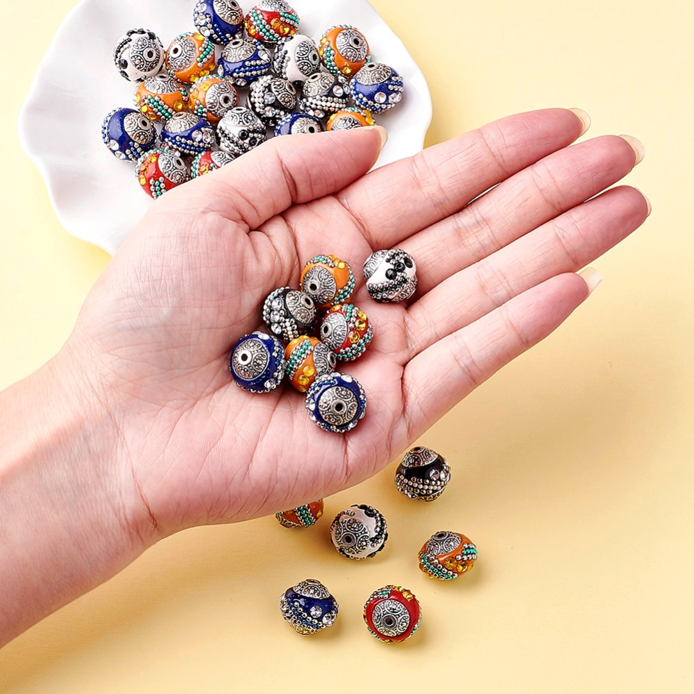 Image 2 - 100pc 15mm Handmade Indonesia Beads With Alloy Cores Round Mixed Color Antique Silver For DIY Jewelry Making Bracelets Supplies-in Beads from Jewelry & Accessories