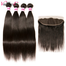 Vallbest Human Hair Straight 4 Bundles With Frontal Brazilian Hair Weave Bundles With Closure Remy Lace Frontal With Bundles 1B#(China)