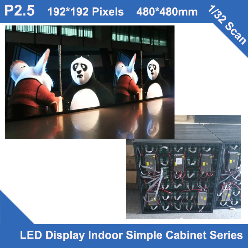 TEEHO P2.5 indoor simple Cabinet 480mm*480mm 1/32 scan video led screen fixed installation hopital hotel wedding church