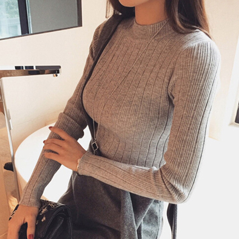 Women Long Sleeve O Neck Ladies Slim Fitting Knitted Short Thin Sweater Tops 2018 Autumn Winter Femme Korean Pull Tight Shirts