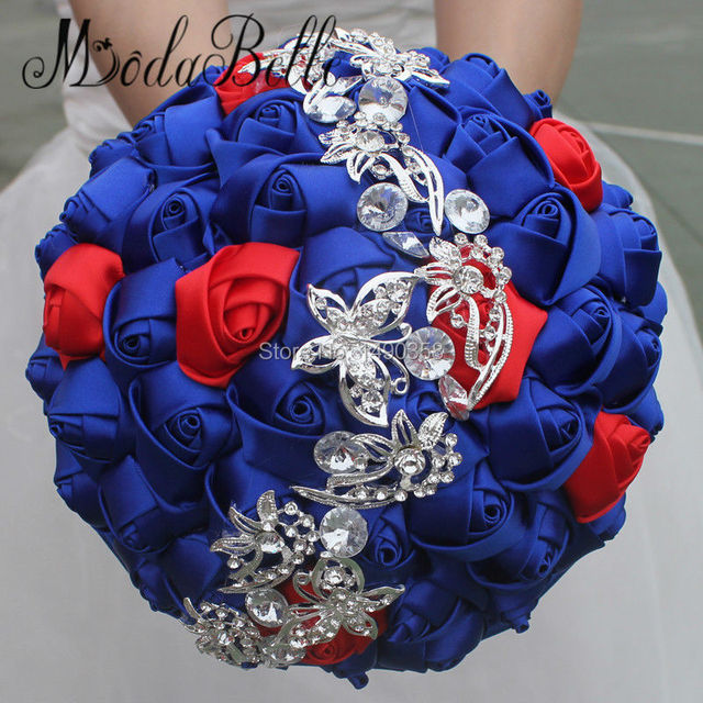Bridal Flower Bouquet Matrimonio Crystal Wedding Bouquets Red Royal ...