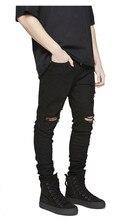 Представляем дизайнер одежды брюки синий/черный разрушенные мужчины тонкий деним прямые байкер skinny джинсы мужчины разорвал джинсы 30-36(China (Mainland))