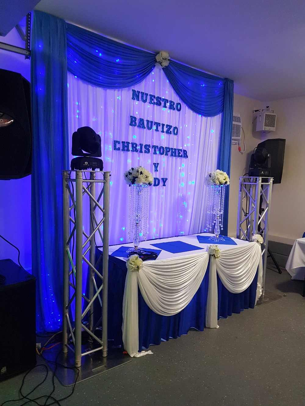 Pure White Wedding Backdrop With Royal Blue Swags Stage