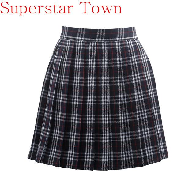 Harajuku Chica Uniforme Escolar Japonés A Cuadros Plisada Falda Animadora Cosplay Lolita Faldas Para Mujer Saias Faldas XXXXL tamaño Grande