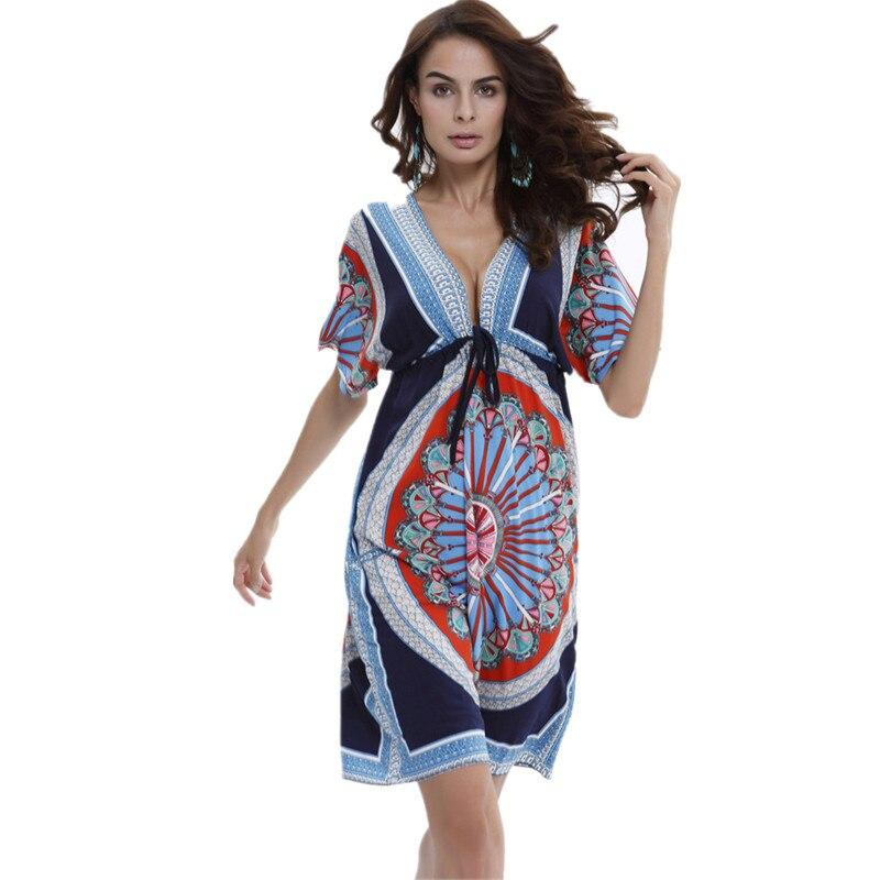 fba39d7ef79c1 US $7.02 12% OFF|2018 Fashion Beach Dress Summer Sexy Deep V European Style  Bohemian Print Women Clothes Vestidos De Festa Female Dresses-in Dresses ...