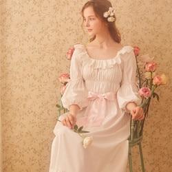 Camisón de algodón Mujer Vintage real ropa de dormir Casual camisón de mujer Gows camisón blanco D