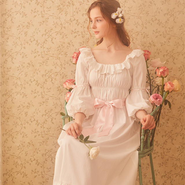 28a46debd3 Cotton Nightgown Women Royal Vintage Sleepwear Casual Nightgown Ladies  Nightdress Gows White Nightgown D
