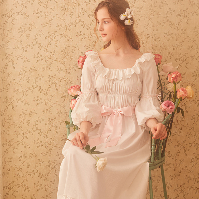 Cotton Nightgown Women Royal Vintage Sleepwear Casual Nightgown Ladies Nightdress Gows White Nightgown D