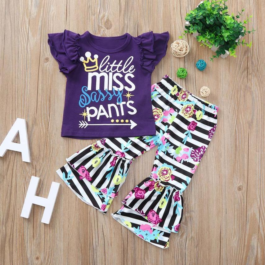 BMF TELOTUNY Fashion Clothing Set Toddle Baby Girls Sleeveless Letter Print Tops+Floral Print Stripe Pants Clothes Jul3