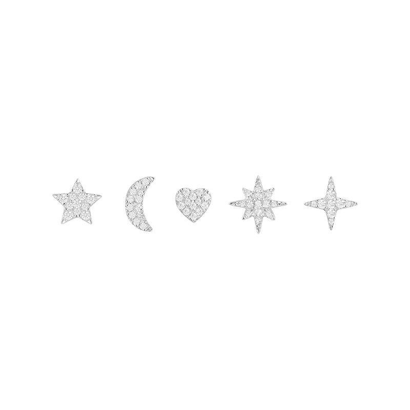 Nouvelle arrivée étoile lune coeur boucles d'oreilles ensemble mode mignon 925 sterling argent boucles d'oreilles femmes boucle d'oreille femme 2018