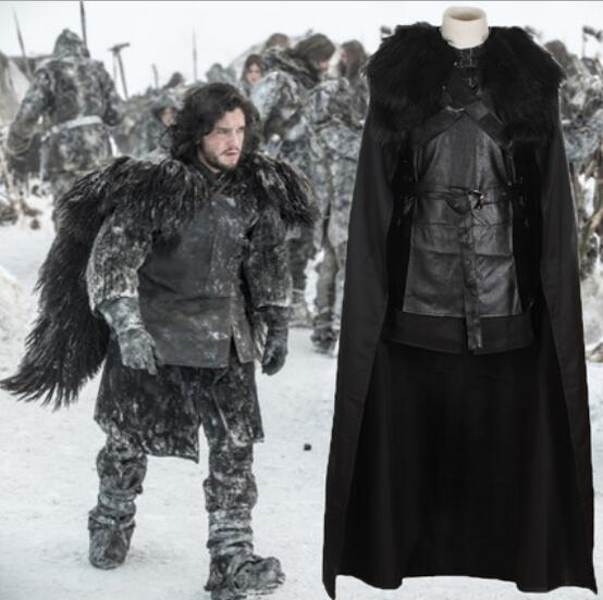 Free PP Game Of Thrones Jon Snow Cosplay Costume Black Faux Fur Cloak whole set
