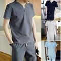 2 peças/set marca New Cotton Linen camisa e calça curta 5XL t-shirt dos homens dos homens de manga curta T Sets camisa t-shirt magros camiseta homme