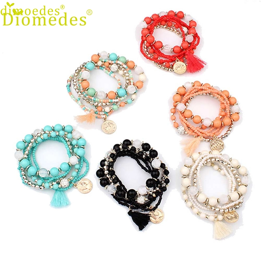 Diomedes Gussy Life Belongs To You Wholesale Fashion Women Multilayer Beads Bangle Or Tassels