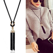 Vintage Black Tassels Pendant Necklaces For Women Simple Alloy Long Sweater Chain Fashion Jewelry Accessories graceful rhinestone alloy sweater chain for women