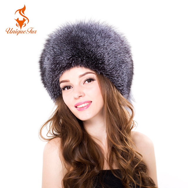 05faf5093f2 2017 Women Winter Fox Fur Bomber Hats Ear Protection Silver Fox Fur Caps  Female Russian Warm Women Casual Hight Quality Fur Hat