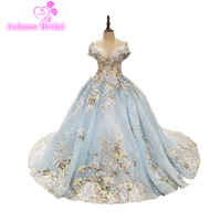 Luxury Light Purple Ball Gown Evening Dresses Turkey Off The Shoulder With Flower China Bridal Gowns 2018 Vestido De Noiva
