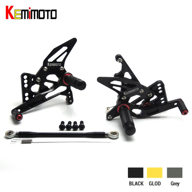 KEMiMOTO GSXR1000 2005 2006 K5 CNC Adjustable Rear Sets Rearset Footrest Foot Rest Pegs for SUZUKI