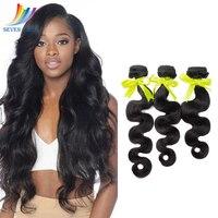 Sevengirls бразильские объемные волнистые пучки волос 100% натуральные человеческие волосы плетение 8 30 дюймов натуральный цвет 3 человеческие во