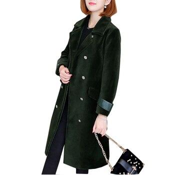 Топ дамы шерстяное пальто утолщение Для женщин двубортное пальто Модные топы новый элегантный темперамент Для женщин одежда Гарантия каче...
