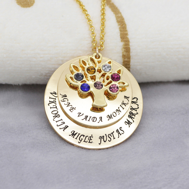 Personalized Family Tree Pendant Necklace with Birthstones New Arrival 4
