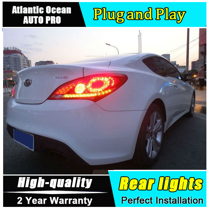A&T Car Styling for Hyundai Rohens Coupe LED Taillights 2009 2012 Coupe Tail Lamp Rear Lamp DRL+Brake+Park+Signal led lights
