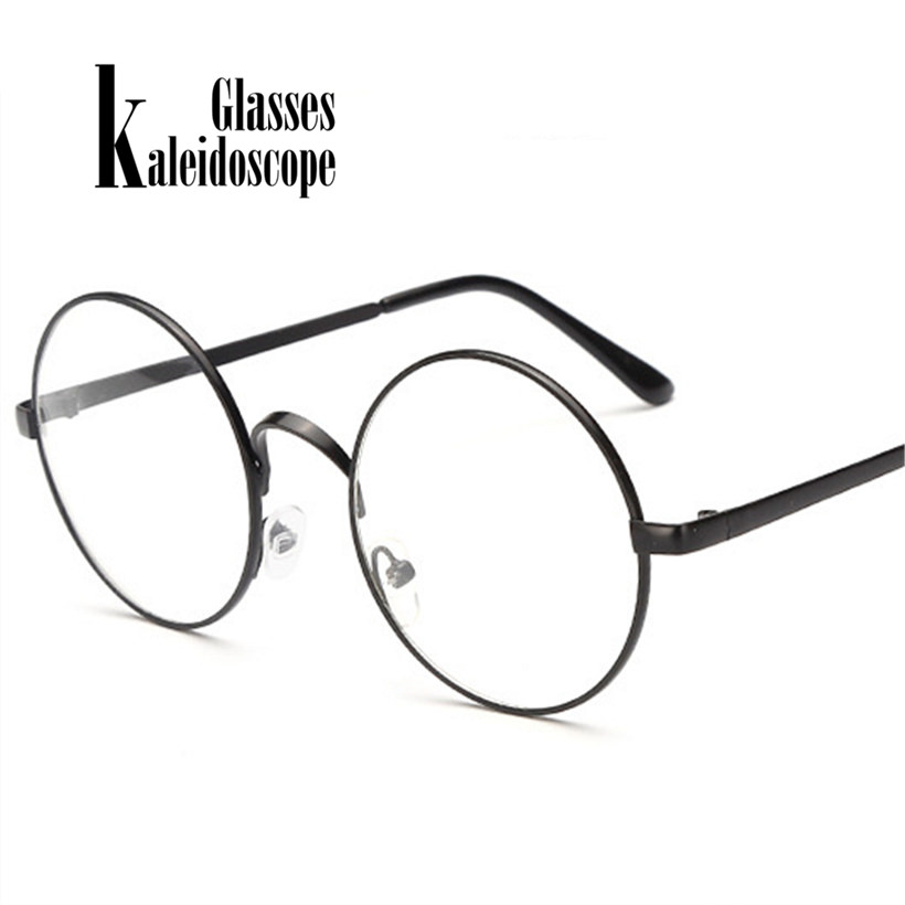 Kaleidoscope Glasses Men Women Glasses Frames Metal Round Spectacle With Clear Lens Optical Frame Transparent Eyeglasses