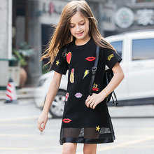 купить big girls dresses summer 2018 teen girl casual dress little girls black dresses size for 45 6 7 8 9 10 11 12 13 14 15 years kids дешево