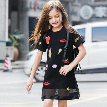 big girls dresses summer 2020 teen girl casual dress kids girls black clothes for children size 4567 8 9 10 11 12 13 14 15 years
