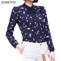 2017 New Women Floral Print Chiffon Blouse Korean Style Long Sleeve Bow Stand Collar Slim Office Shirt Casual Tops Blusas