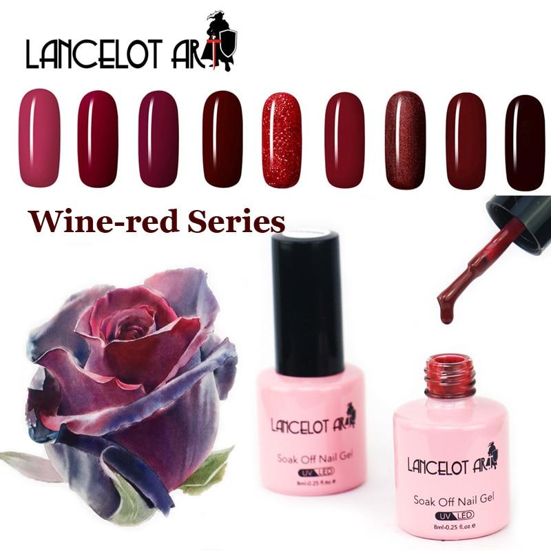 LANCELOT ART Nail Gel Polish Wine Red Series Colors Nail Art Vernis Semi Permanent Soak off UV Color Gel Nail Polish