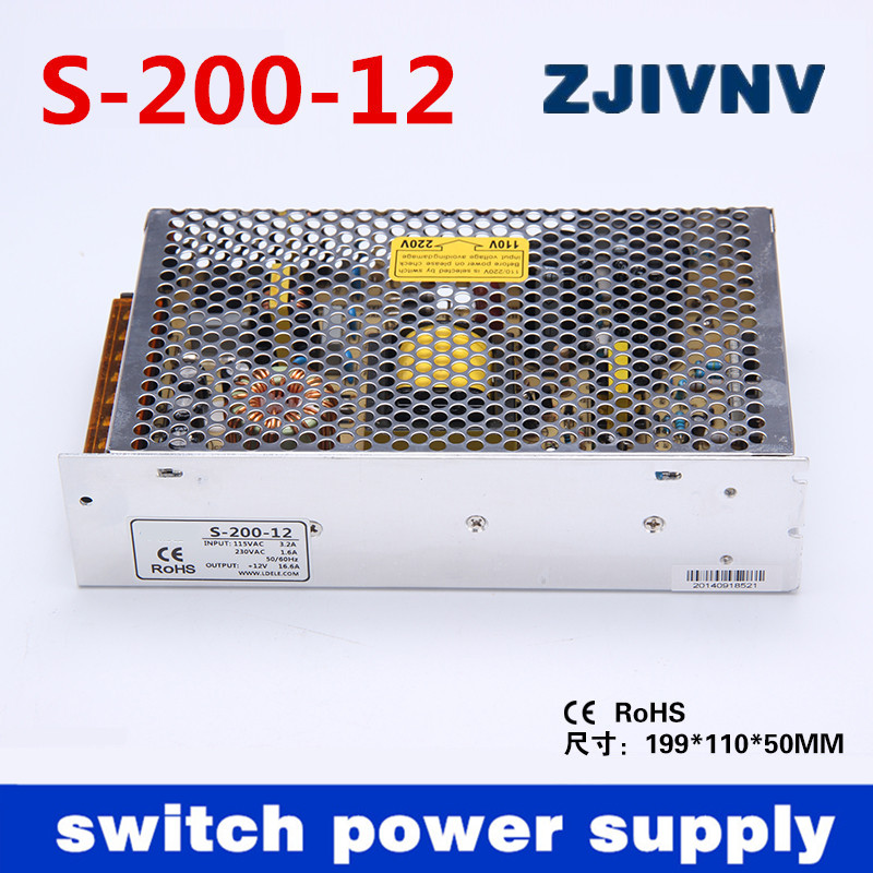 200W single output 12V 16.5A SMPS switching power supply for LED <font><b>light</b></font> strip display programmable power supply (s-200-12)