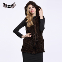 BF FUR Women Fur Vest Knit Real Mink Fur Jacket Sleeveless Coffee And Black Elegant Spring Winter Outerwear Clothing BF V0073