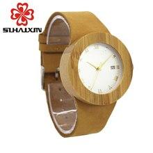 SIHAIXINLadies Watch Bamboo Wood Watches Women With Calendar Wooden Case Dress Quartz Wristwatch Japan 2035 Movement Clock Gift