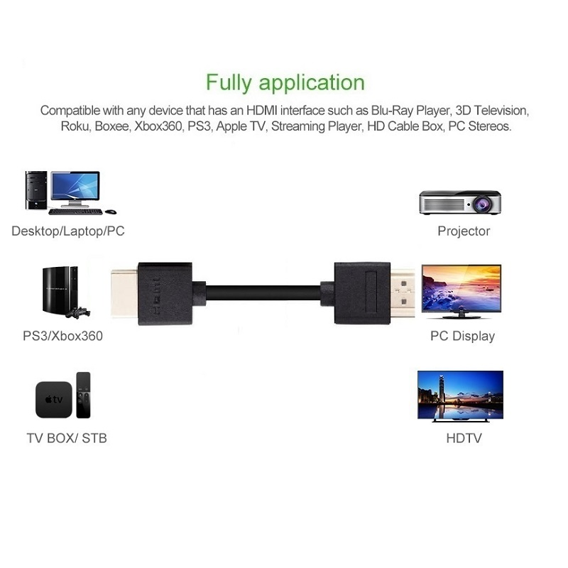 Slim HDMI Cable with Ethernet 1M 1 5M 2M 3M 5M 10M 15m 1 4 for HD TV 39 s Xbox 360 PS3 Playstation 3 SkyHD in HDMI Cables from Consumer Electronics