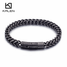 KALEN Retro 316 Stainless Steel Brushed Link Chain Bracelets For Men Biker Matte Hand Wrist Wrap Cheap Jewelry