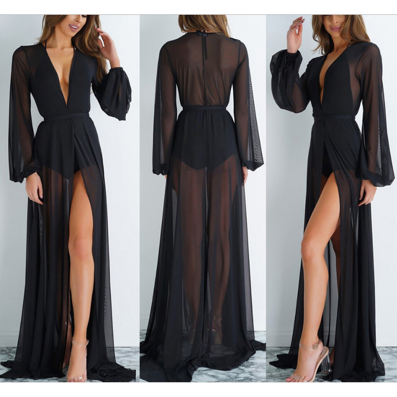 Summer Beach Wear Tunics For Beach Bathing Suit Cover Ups Swimwear Cover Up Women 2019 Sexy Mesh Floor Length Suits Dress Maios(China)