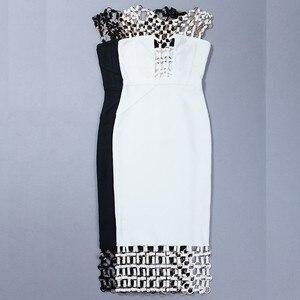 Image 5 - Kadın Vestidos bandaj elbise Rayon % 2017 yaz Hollow Out U boyun payetli Bodycon elbise siyah beyaz yemek seksi parti elbiseler
