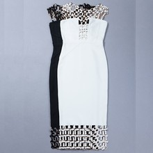 Women's Vestidos Bandage Dress Hollow Out U Neck Sequined Bodycon