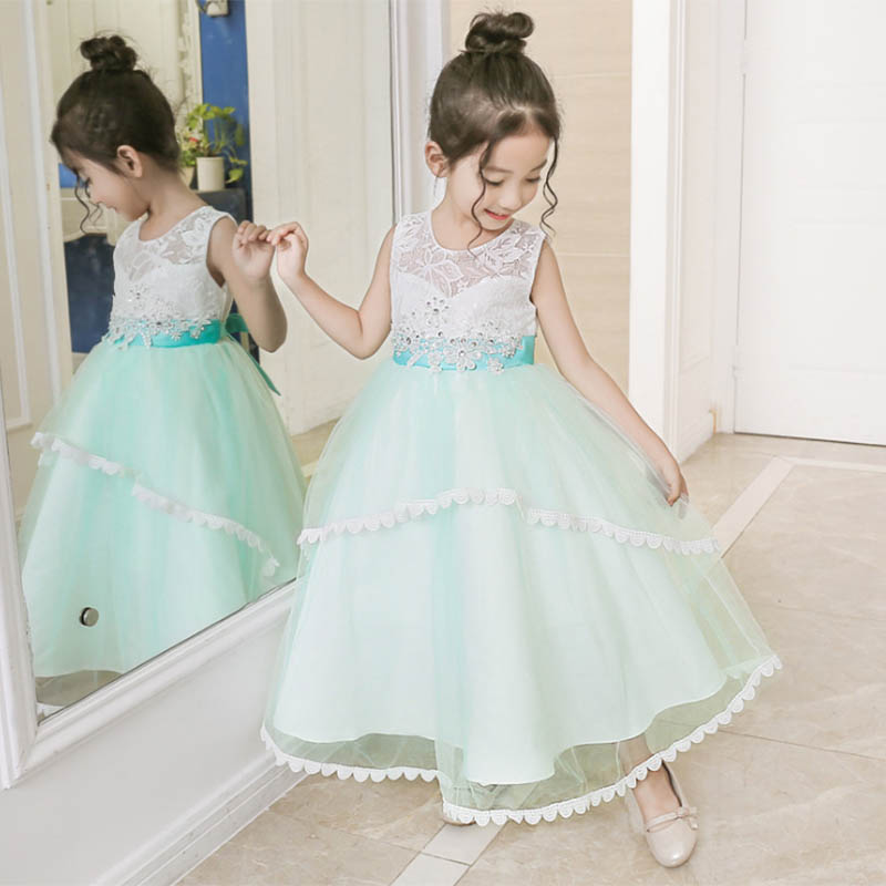 High Quality Lace Wedding Flower Girls Baby Costume First Communion Dress Ball Gown Kids Pageant Clothes Children's Clothing