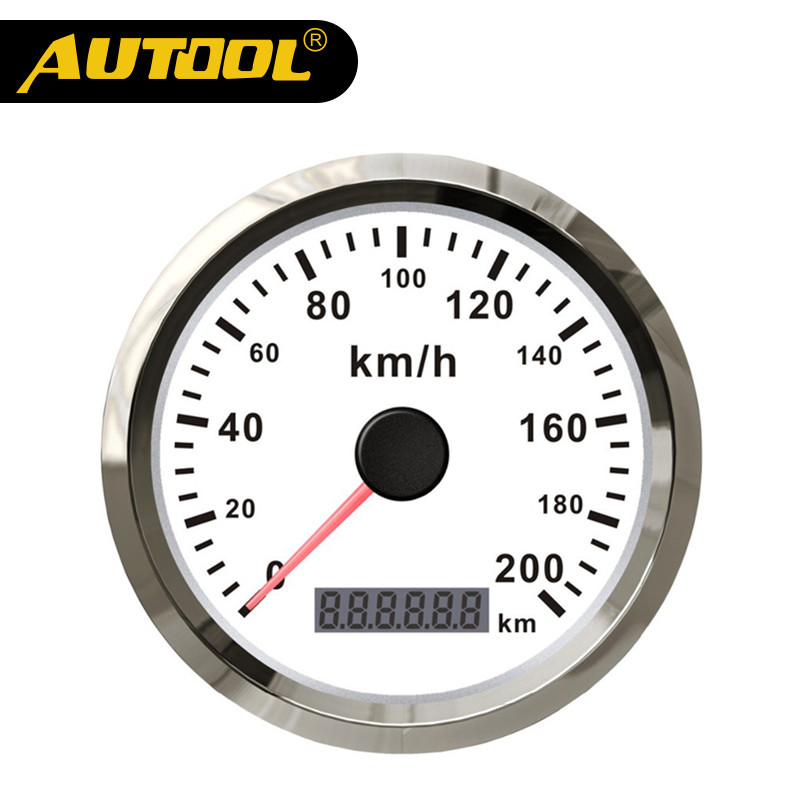 AUTOOL Universal Auto GPS Speedometer 200km/h 85mm Waterproof Stainless Steel Digital Display Gauges For Car Truck Motor 12/24V new arrival 85mm auto stainless digital tachometer 80x100rpm for engine car truck 12v 24v fast shipping