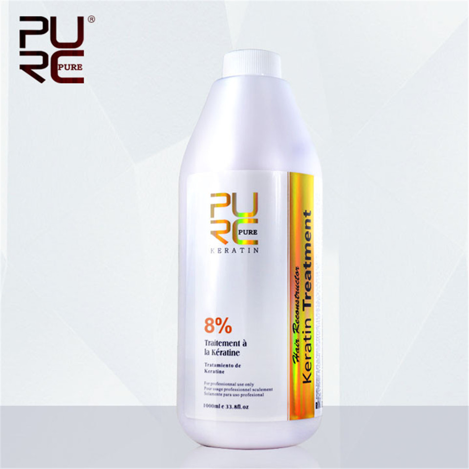 PURC 8% Formalin Brazilian Keratin Hair Treatment 1000ml Straightening For Hair Moisturizing Repair Damage Hair Makes Hair Shiny hairinque5% brazilian keratin hair treatment for asian and european s hair hair care products 30minutes repair damage hair